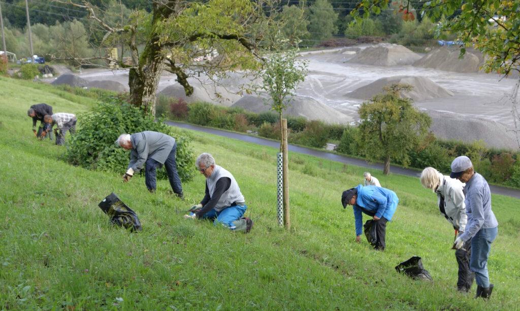 Die Helfer an der Arbeit am Homberg